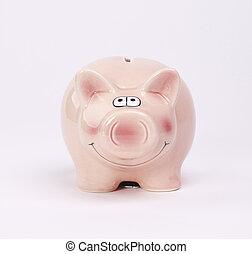 白, 銀行, 背景, 小豚