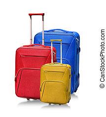 白, 隔離された, スーツケース