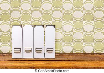 白, 雑誌, ファイル, 上に, a, 木製である, 棚