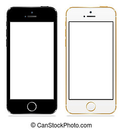 白, 黒, アップル, 5s, iphone
