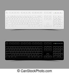 白, 黒, キーボード