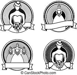 白, 黒, スタンプ, 結婚式