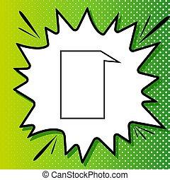 白, 黒, スピーチ, popart, 泡, 緑の背景, アイコン, 印。, spots., illustration., はね返し