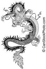 白, 黒, 中国のドラゴン