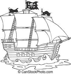 白, 黒, 海賊, 船