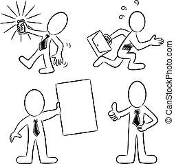 白, 黒, 漫画, ビジネス 人々