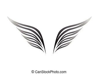 白, 黒, 翼, 背景
