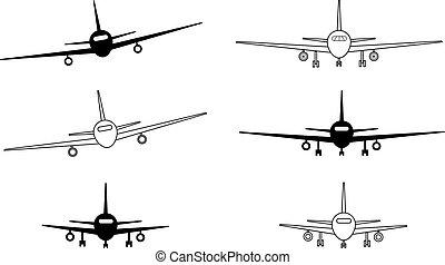 白, 黒, 輪郭, 飛行機