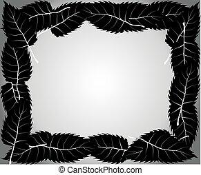 白, 黒, 隔離された, 背景, leafs
