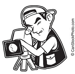 白, 黒, clipart, videographe