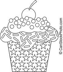 白, 黒, cupcake