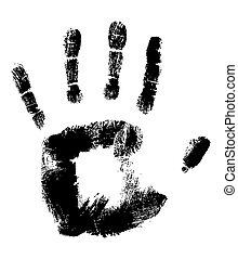 白, 黒, handprint