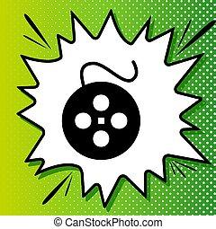 白, 黒, popart, 緑の背景, アイコン, 印。, フィルム, 円, spots., illustration., はね返し
