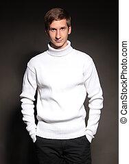 白, 黒, sweter, 背景, 人
