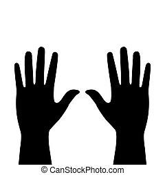 白, 2, 背景, 手