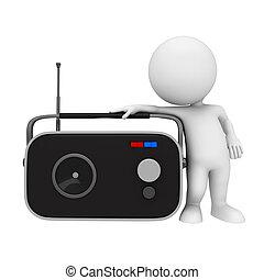 白, 3d, ラジオ, 人々