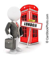 白, 3d, ロンドン, 人々