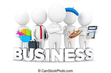 白, 3d, 仕事, ビジネス 人々