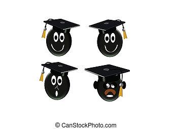 白, 3d, 卒業生, アイコン