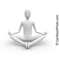白, 3d, 瞑想する, 人