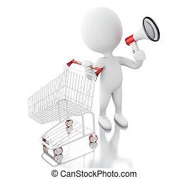 白, 3d, 買い物, cart., 人々