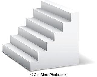白, 3d, stairway.