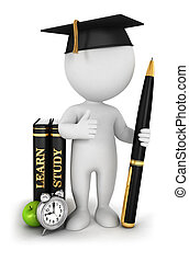 白, 3d, studious, 学生, 人々