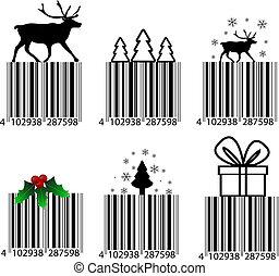 白, barcode, 黒, クリスマス