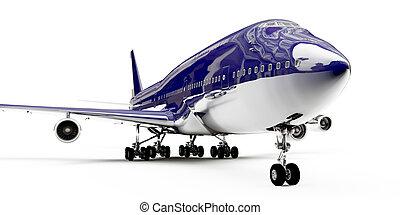 白, boeing, 隔離された, 背景, 747