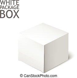 白, box., パッケージ, テンプレート, mockup