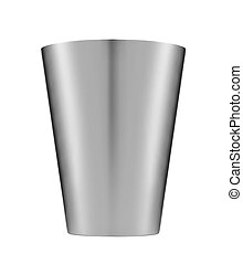 白, bucket., 隔離された, 背景, 金属