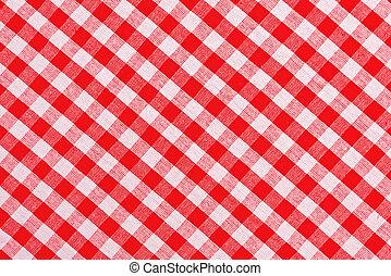 白, checkered テーブルクロス, 赤