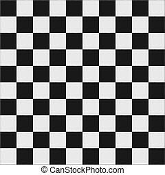白, checkered, 黒, 床
