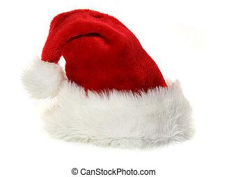 白, claus, 帽子, santa