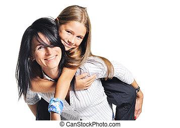 白, daughter., 遊び, 若い, 母