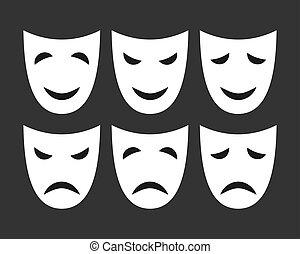 白, emotions., セット, マスク, 別
