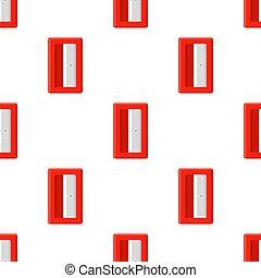 白, fabric., 漫画, バックグラウンド。, 赤, 網, ベクトル, seamless, sharpener, デザイン, 鉛筆, style., イラスト, 包むこと, パターン, ペーパー