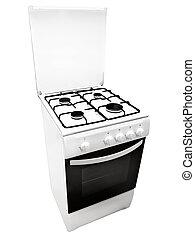 白, gas-stove