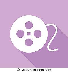 白, illustration., バックグラウンド。, 円, アイコン, 影, 印。, フィルム, 紫色, 長い間