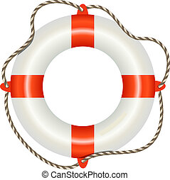 白, lifesaver, 隔離された, 背景, ブイ