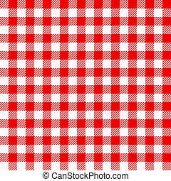 白, plaid, テーブルクロス, 赤