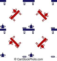 白, seamless, パターン, バックグラウンド。, 隔離された, 赤, アイコン, オイル, ベクトル, テーブル, 青, マッサージ