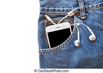 白, smartphone, 中に, あなたの, ポケット, ブルー・ジーンズ, ∥で∥, イヤホーン, そして, usb ケーブル, ∥ために∥, 移動, データ, ∥あるいは∥, 情報, 上に, 隔離された, バックグラウンド。, コピースペース