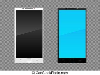 白, smartphone, 黒