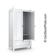 白, wardrobe., 開いた, イラスト, 3d