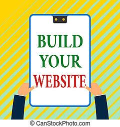 白, website., 青, 2, hands., 市場, 持つ, 穴, 提示, 設定, あなたの, 長方形, ...