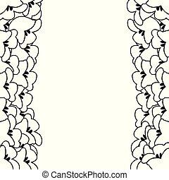 百合花, 白色, 山谷, 邊框, outline