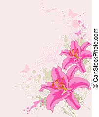 百合花, 背景, 粉紅色, 植物