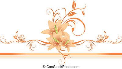 百合, 由于, 植物, ornament., 邊框