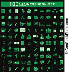 百, セット, ビジネス, アイコン